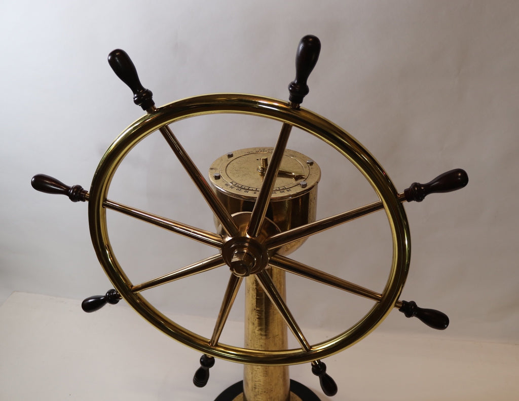 Brass Ships Wheel on Pedestal