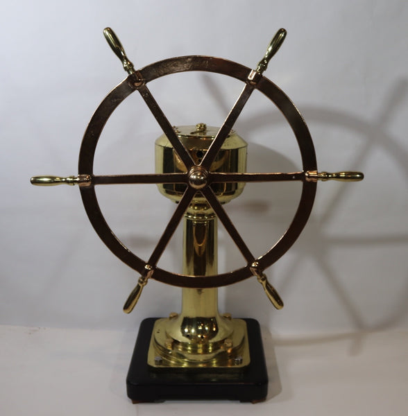 Solid Brass Ships Wheel on Pedestal