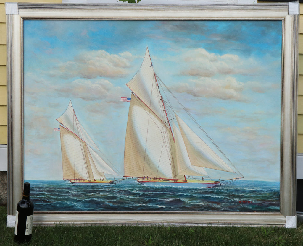 Framed Oil on Canvas | Yacht Race