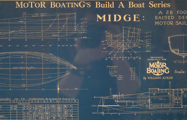 "Motor Boating Blueprint of ""Midge"""