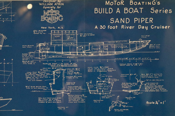 Framed Blueprint of the Yacht Sand Piper