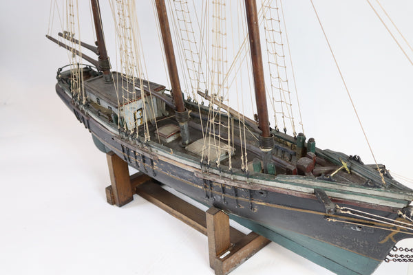 Three-masted folk art ship model