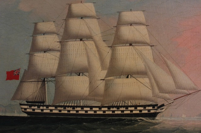 China Trade Warship Painting in Chippendale Frame