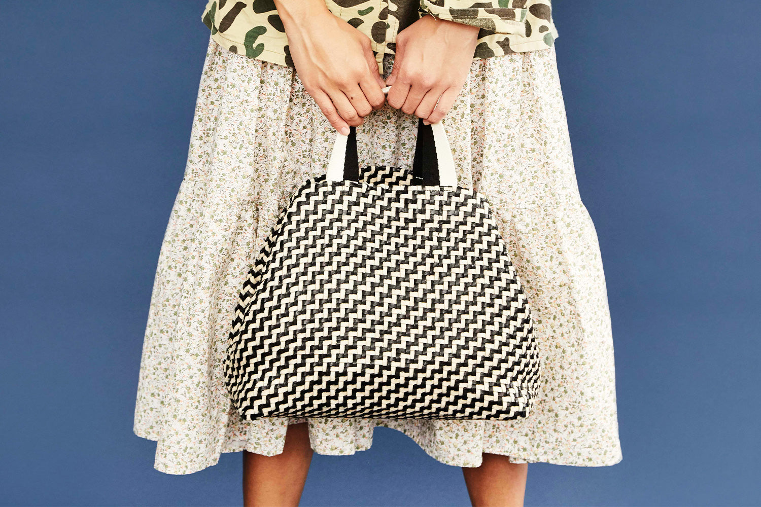 Black and Cream Woven Zig Zag Bateau Tote