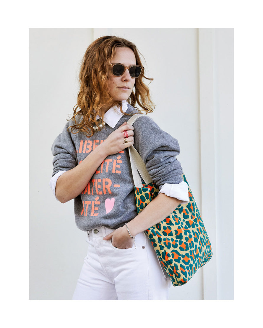 Neon Cat Suede Carryall