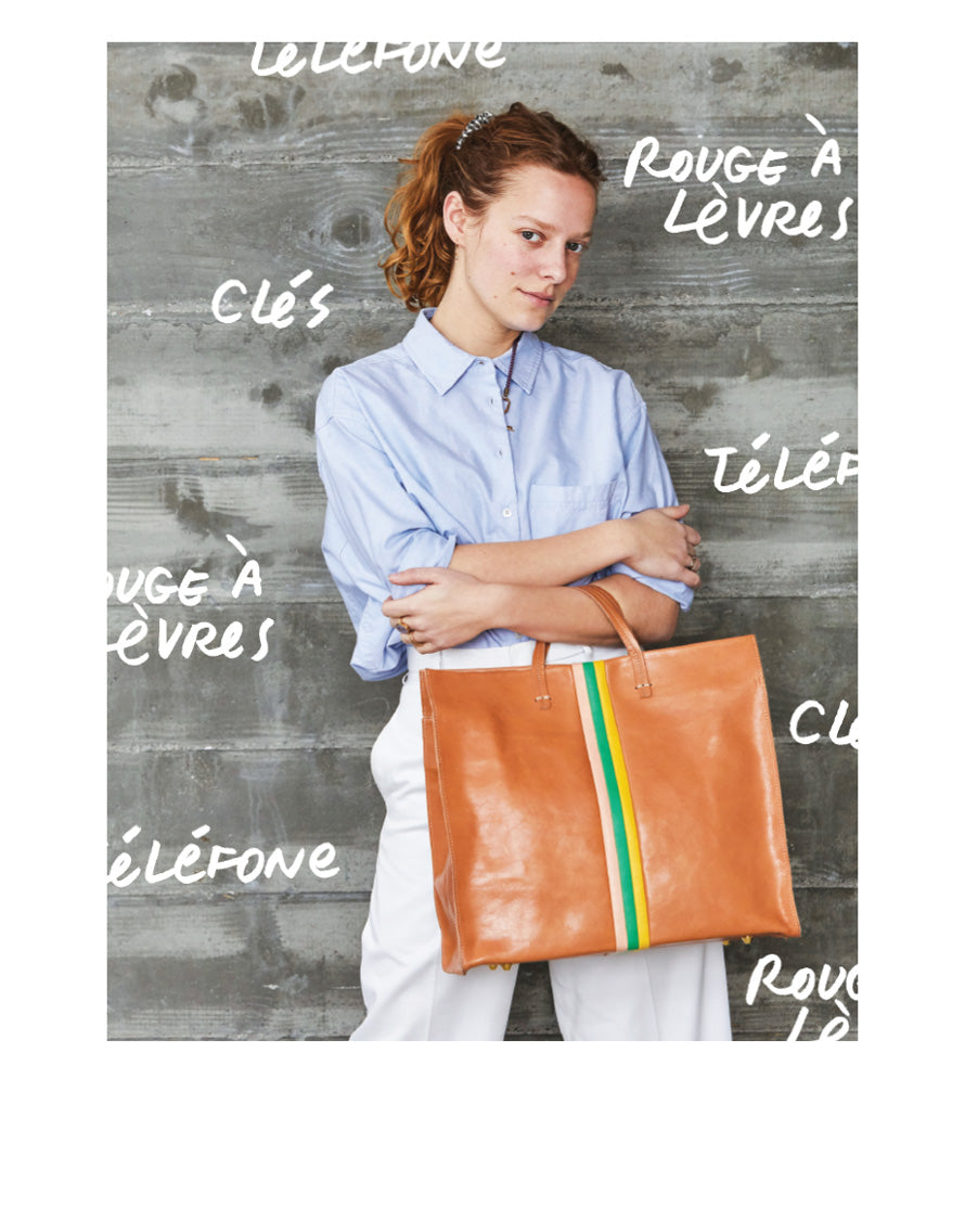 Natural Rustic with Stripes Simple Tote