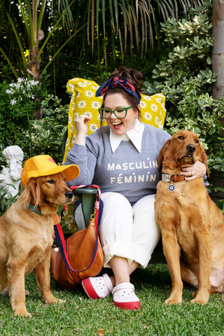 Melissa McCarthy Wearing Our Grey Masculin Feminin Sweatshirt and Our Cravat as a Ponytail Holder