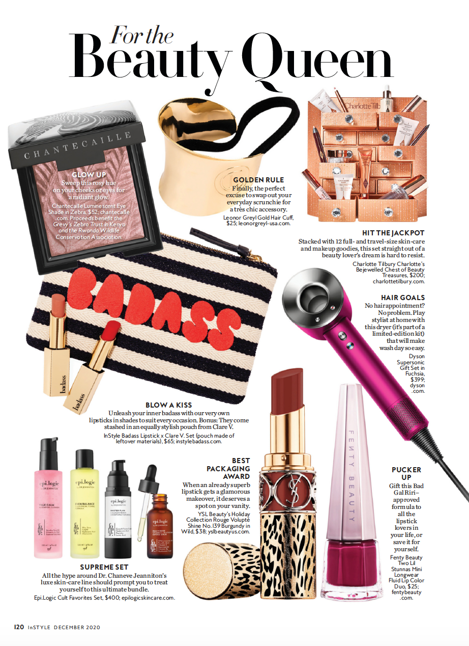 InStyle Magazine For The Beauty Queen Story Featuring Our InStyle Badass Lipstick x Clare V. Set