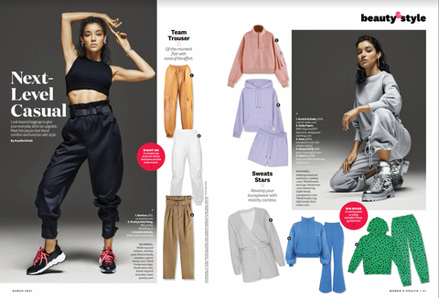 Women's Health Beauty and Style Section Featuring Our Green Jaguar Sweatsuit