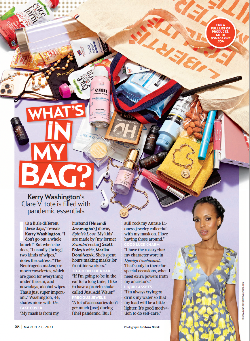 US Weekly What's In My (Kerry Washington's) Bag Featuring Our EMC Tote Bag, March 22, 2021 Issue - Page 28