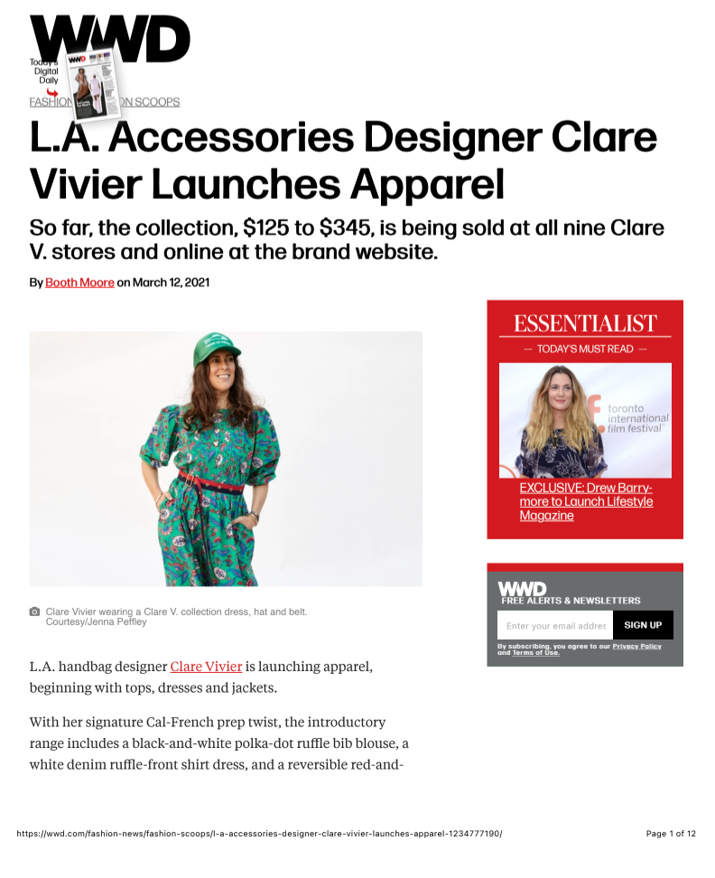 WWD L.A. Accessories Designer Clare Vivier Launches Apparel Story by Booth Moore on March 12, 2021