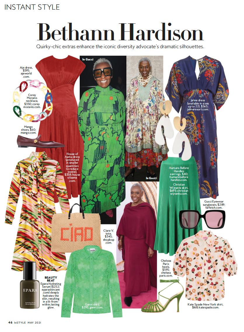 Page 46 of InStyle's May 2021 Issue Featuring A Story of Bethann Hardison's Style, our Ciao Simple Tote was Included in the Assortment