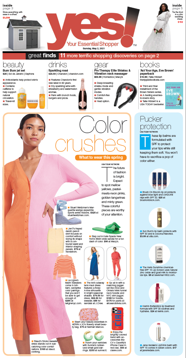 Insert from USA Today Magazine, Page 3 Featuring our Ciao iPhone Card Case as Part of their Color Crushes Story