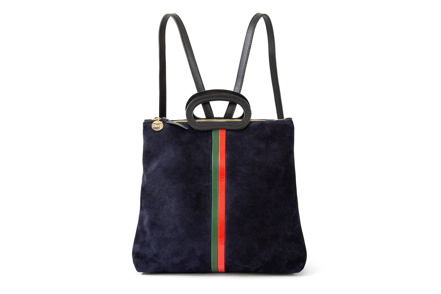 Navy Suede with Stripes Marcelle Backpack