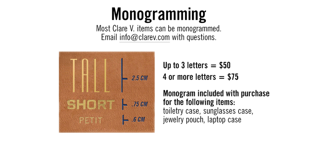 Monogram pricing information