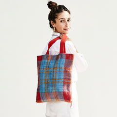 Poppy and Turquoise Woven Carryall On-Model