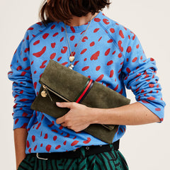 Army Suede with Evergreen, Cherry & Navy Mini Stripes Foldover Clutch