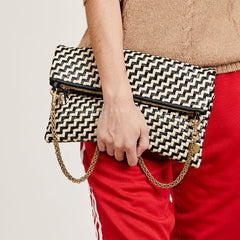 Black & Cream Woven Zig-Zag Foldover Clutch with Tabs