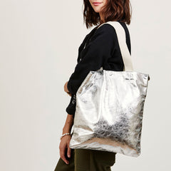 Silver Metallic Carryall - On Model