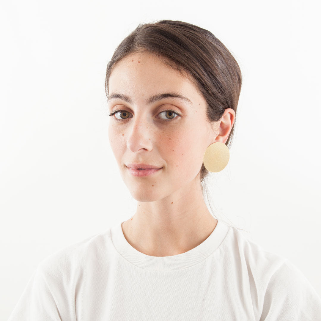 Annie Costello Brown Disc Earrings