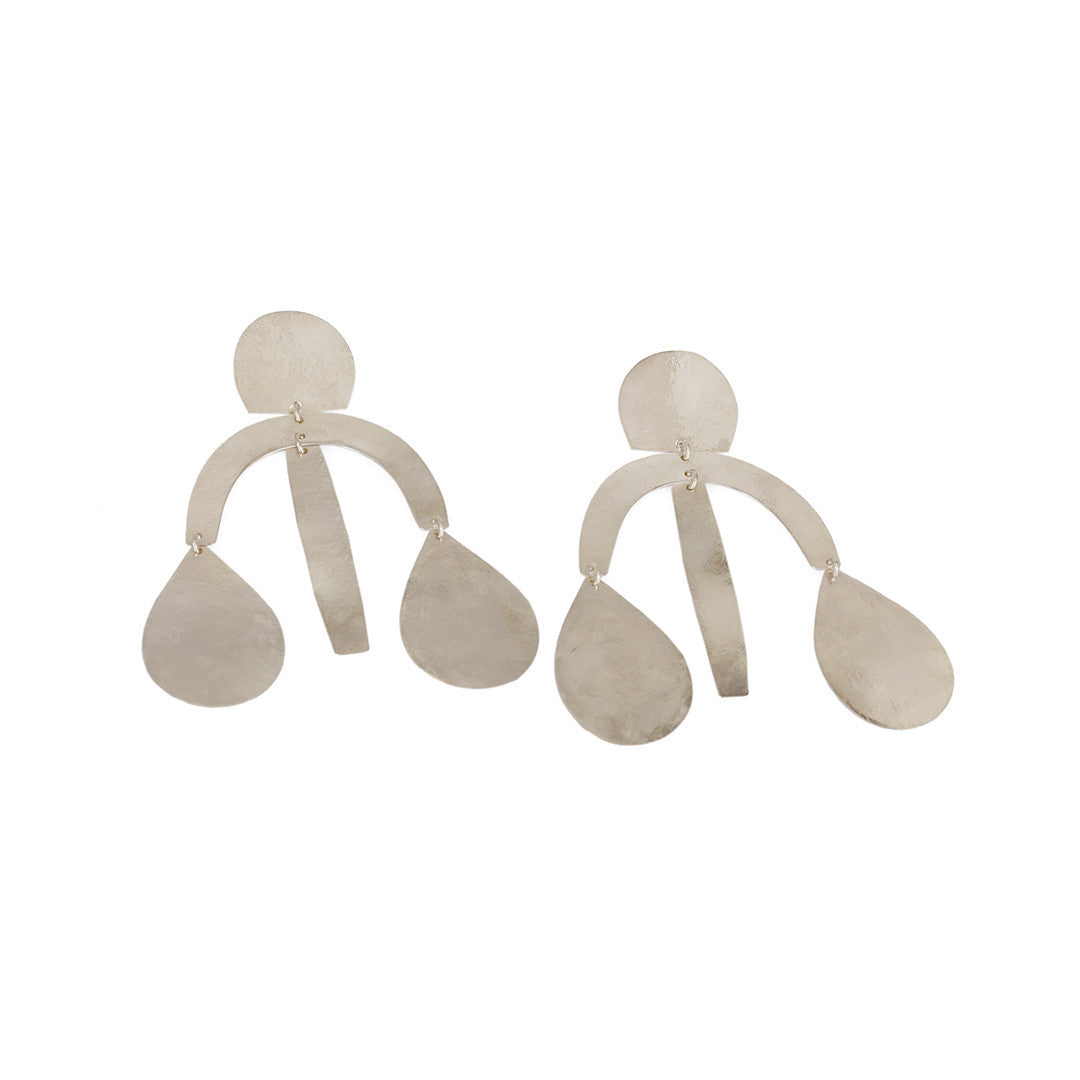 Annie Costello Brown- Arc Drop Earrings - Silver