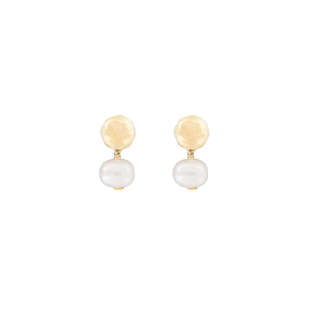 Annie Costello Brown Logo Pearl Earrings