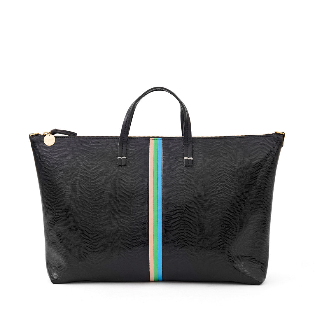 Black Lizard with Pale Pink, Parrot Green and Cerulean Mini Stripes Attaché- Front