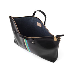Black Lizard with Pale Pink, Parrot Green and Cerulean Mini Stripes Attaché- Interior