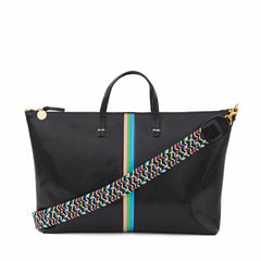Black Lizard with Pale Pink, Parrot Green and Cerulean Mini Stripes Attaché with Multi Braided Shoulder Strap