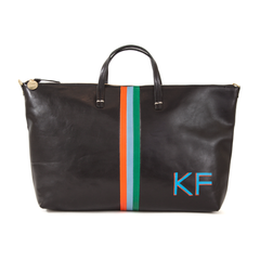 Black w/Stripes Attaché with Hand-Painted Monogram