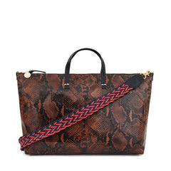 Cocoa Python Attaché - with Red & Navy Braided Shoulder Strap