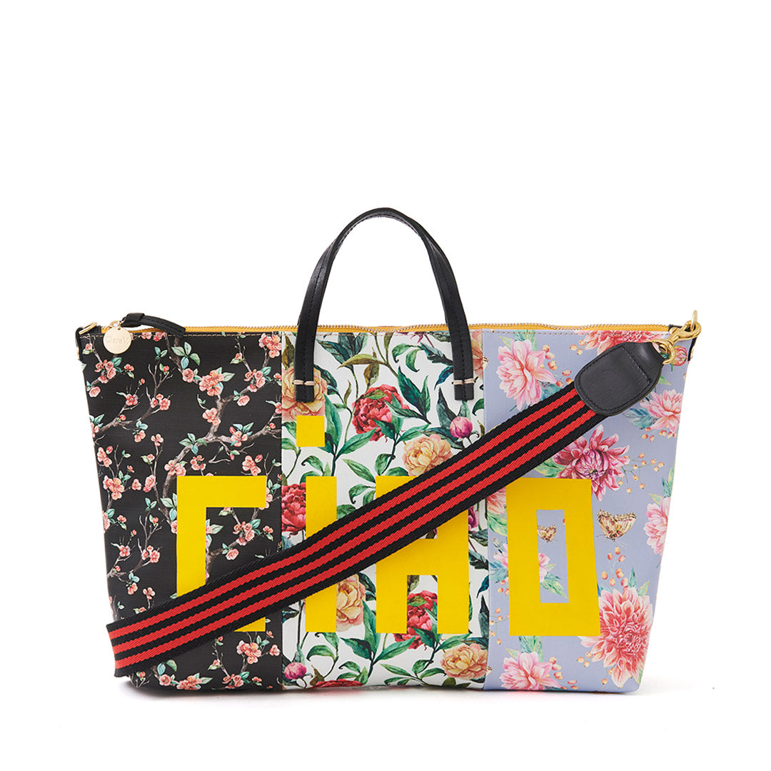 Patchwork Floral Attache with Black & Red Mini Stripe Shoulder Strap