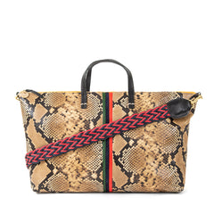 Tan Spring Snake with Evergreen, Navy and Cherry Red Mini Stripes Attaché with Red & Navy Braided Shoulder Strap