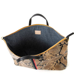 Tan Spring Snake with Evergreen, Navy and Cherry Red Mini Stripes Attaché - Interior