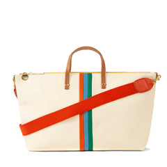 White Rustic with Poppy, Sky Blue and Emerald Stripes Attaché with Red Webbing Shoulder Strap
