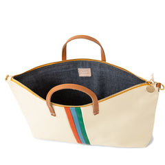 White Rustic with Poppy, Sky Blue and Emerald Stripes Attaché - Interior