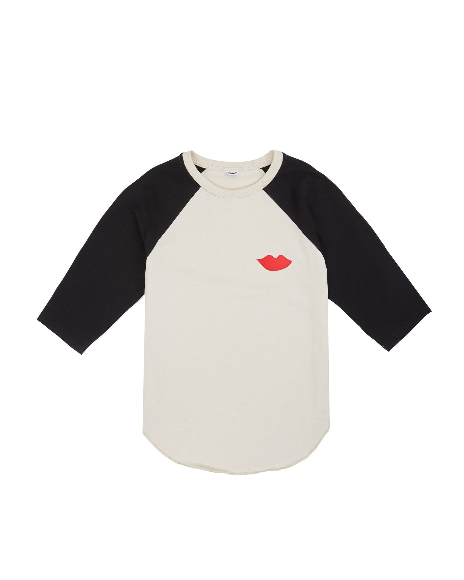 3/4 Sleeve Cream with Black Sleeves and Poppy Lips Raglan Tee