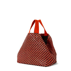 Black and Red Woven Zig Zag Bateau Tote - Back