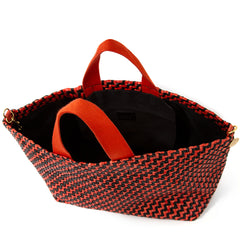 Black and Red Woven Zig Zag Bateau Tote - Interior