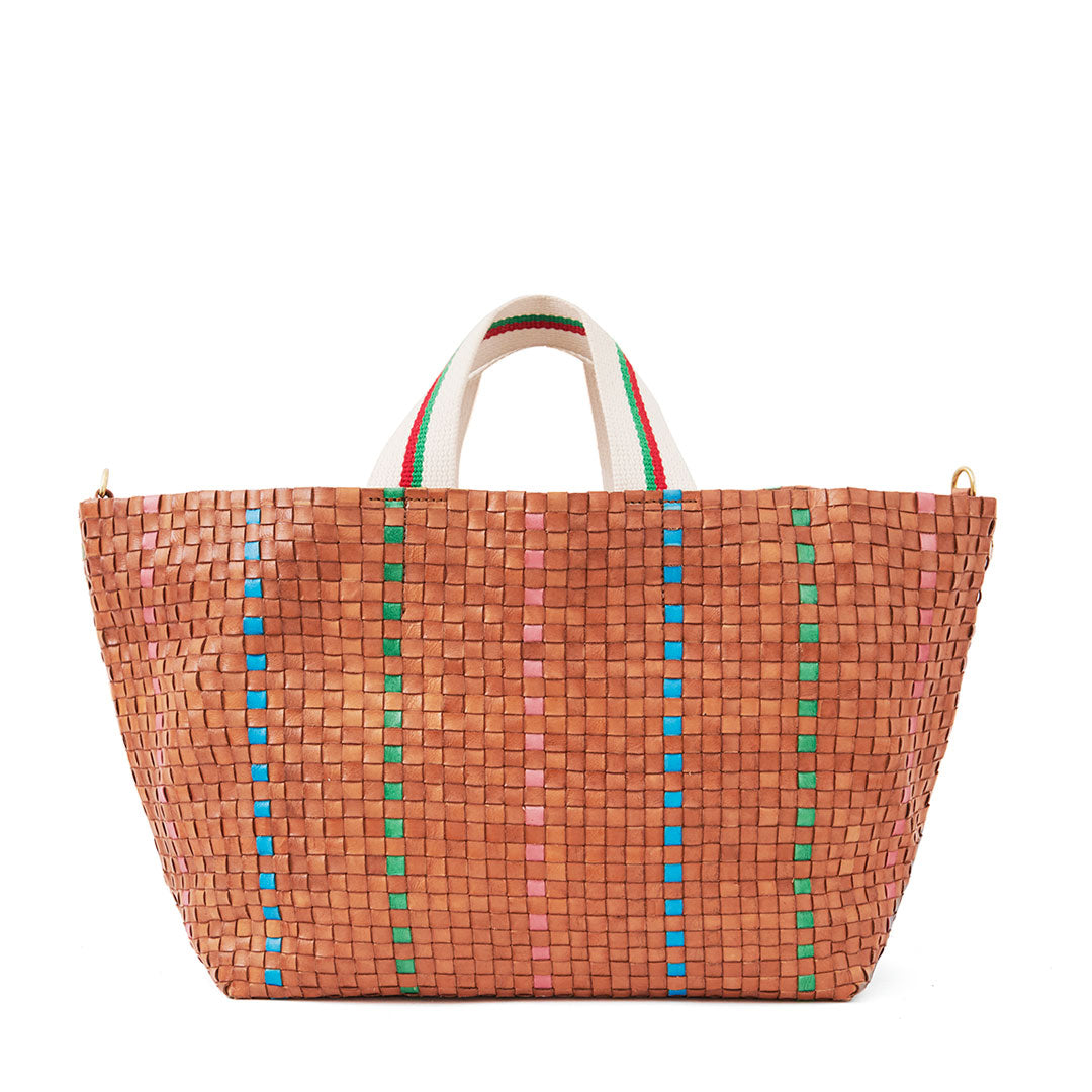 Natural w/Green, Pale Pink & Cerulean Bateau Tote - Front