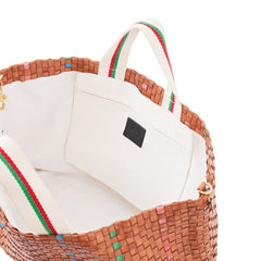 Natural w/Green, Pale Pink & Cerulean Bateau Tote - Interior