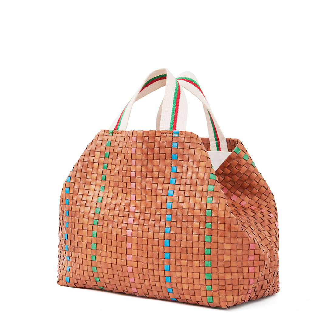 Natural w/Green, Pale Pink & Cerulean Bateau Tote - Back