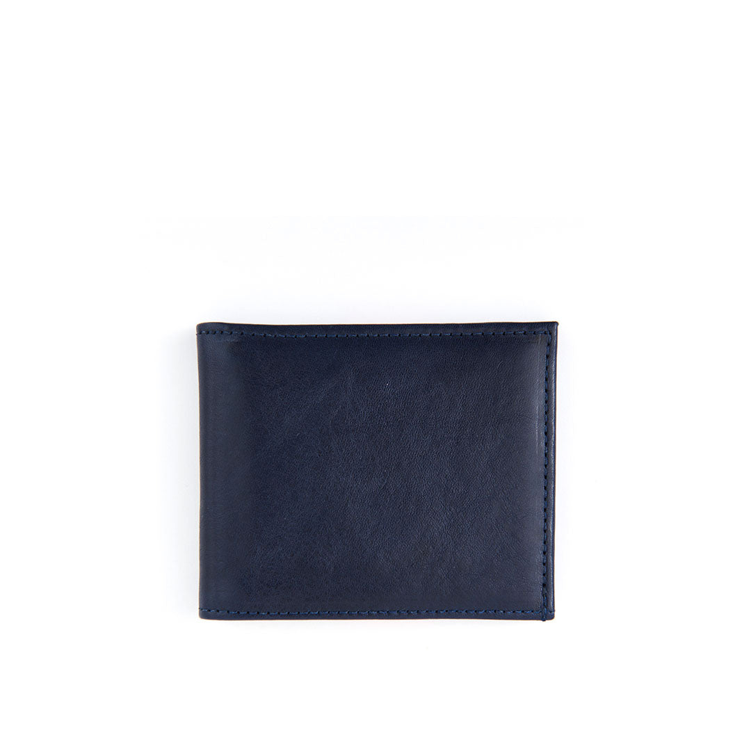 Navy w/ Glossy Red Stripe Billfold Wallet - Back