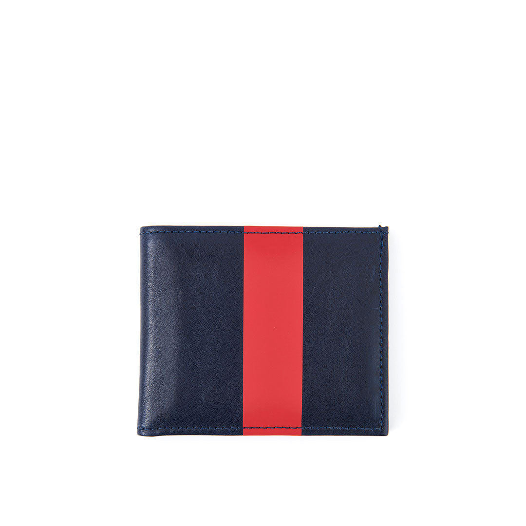 Navy w/ Glossy Red Stripe Billfold Wallet - Front