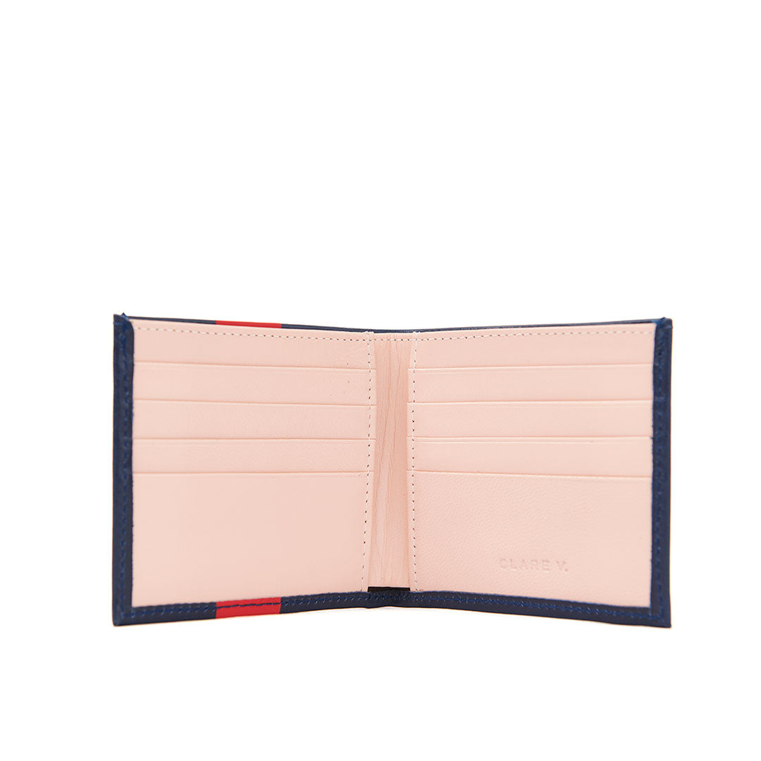 Navy w/ Glossy Red Stripe Billfold Wallet - Interior