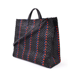 Black with Pacific and Cherry Red Woven Striped Checker Simple Tote - Back