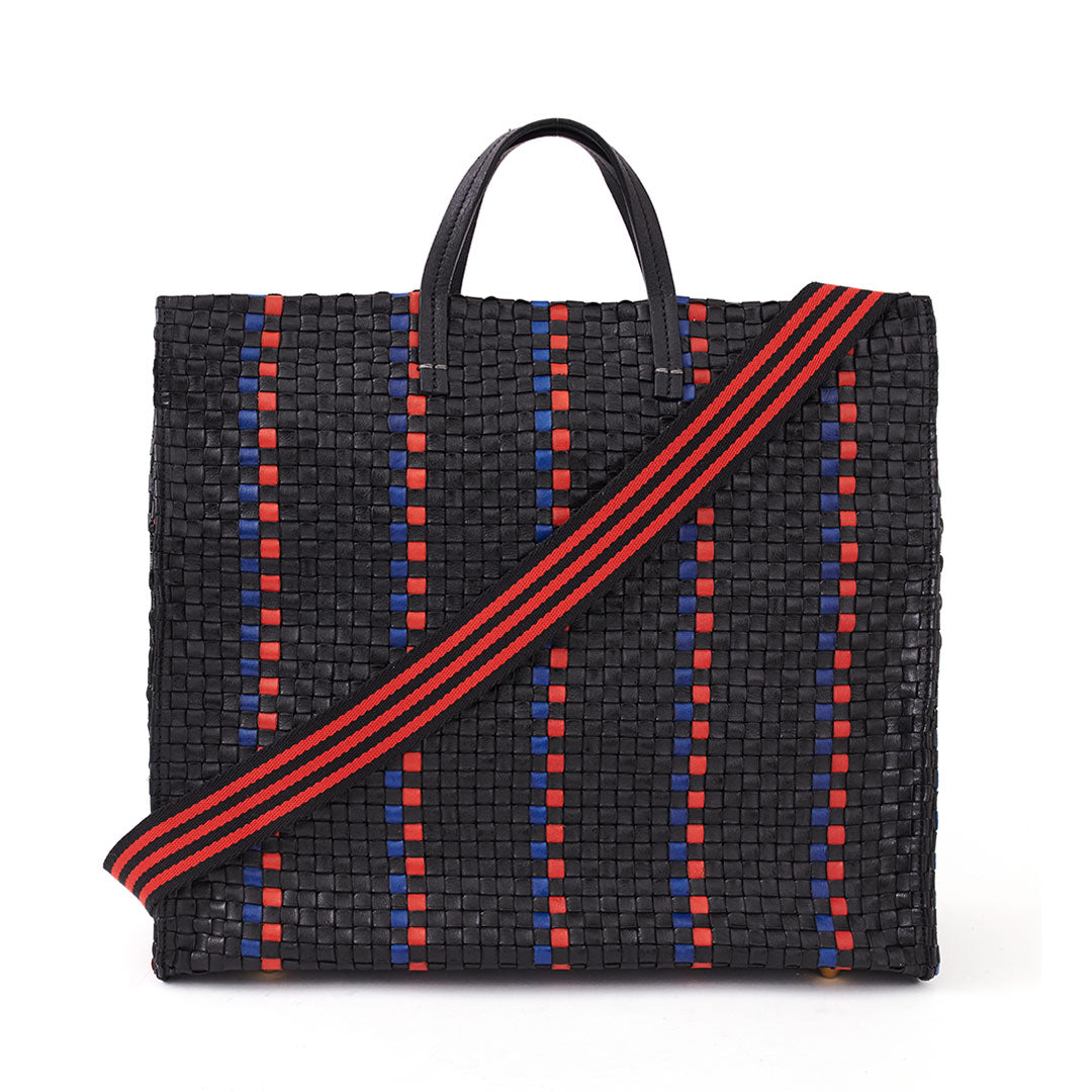 Black with Pacific and Cherry Red Woven Striped Checker Simple Tote with Cotton Webbing Strap