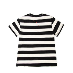 Black and Cream Rugby Stripe with Poppy Lips Summer Fit Tee - Back