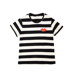 Black and Cream Rugby Stripe with Poppy Lips Summer Fit Tee - Front