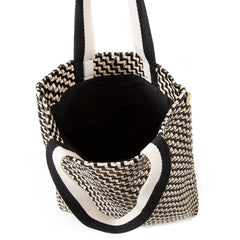 Black and Cream Woven Zig Zag Carryall - Interior